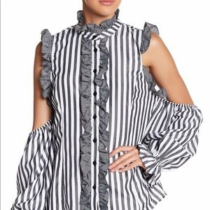 Cq by Cq frill cold shoulder striped blouse small